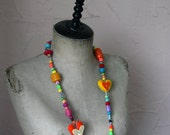 Colourful wooden and felted bead necklace -handmade felted hearts, wooden beads