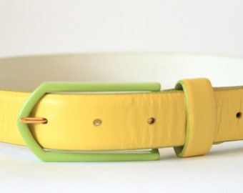 Carlisle Belt - Bright Yellow Leather with Green Buckle - Ladies Size Small Medium S/M