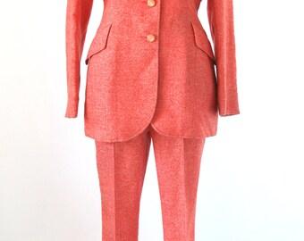 Red Orange Rockabilly Suit - Vintage Western Lasso Suit - Size Small