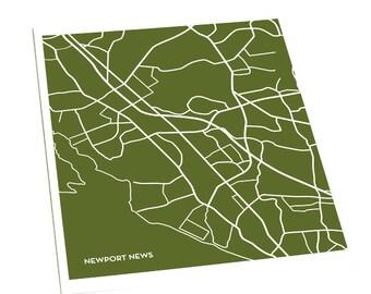 Newport News City Art Print / Virginia Map Print Wall Art Poster / 8x10 Digital Print / Choose your color