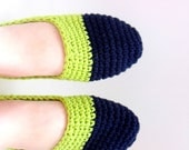 Navy and Lime: Size Small (5/6) Hand-Crocheted Slipper Mocasins Mad with 100% All-Natural Cotton