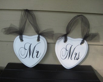 Wedding Chair Signs, Chair Signs, Heart Signs, Mr and Mrs Signs, Bride and Groom, Black and White Wedding, Wood Chair Signs