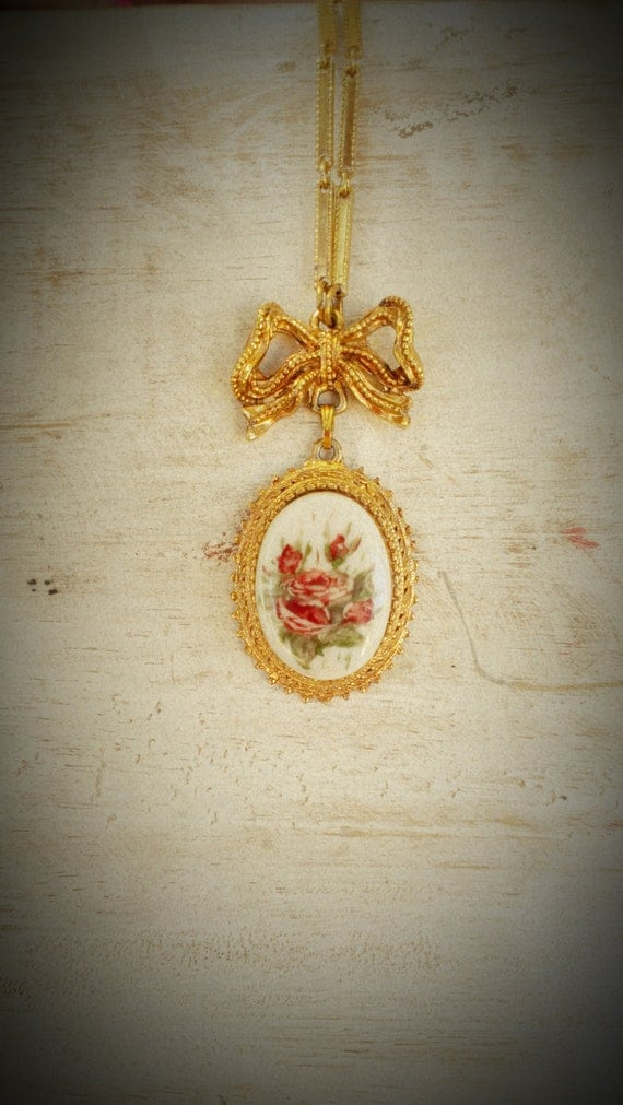 REDUCED Florence- Vintage Painted Porcelain Cabochon Pendant Necklace with Bow Details signed FLORENZA, Victorian floral style