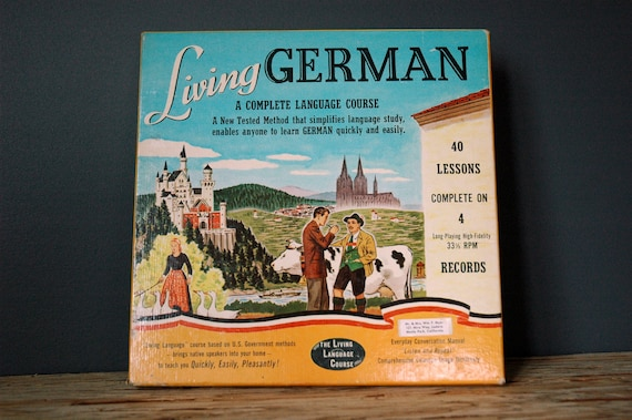 Living German Language Lessons Four Albums and Manuals Vintage 1956 Language Library