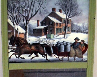 Frame Picture Mirror Sleigh Ride Winter Scene 1940's Country Christmas Winter Wall Hanging Art