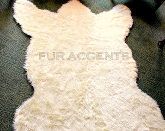 Polar Bear Skin Accent Rug /  Fake Bear Hide Pelt Rug / Lifesize Luxury Fur /