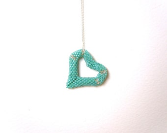 Turquoise Heart Pendant Necklace, Heart Necklace, Seed Bead Necklace, Sterling Silver Chain UK