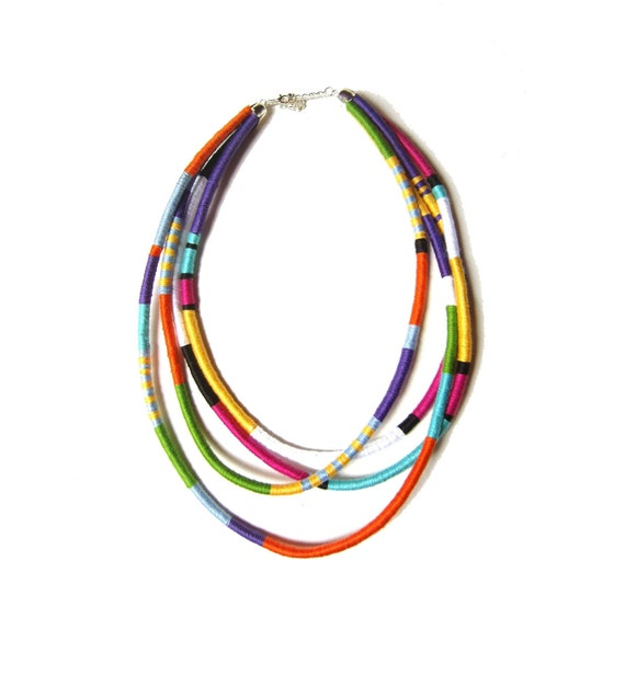 Statement Necklace, Tribal Necklace, Thread Wrapped Necklace, Multistrand African Necklace UK