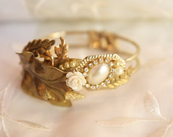 Bridal Bracelet, Wedding ,Greek Goddess,Romantic,Golden,Antique,Pearls And Rhinestone, Botanical,Real Vintage Leafs,Roman Bracelet,Cuff