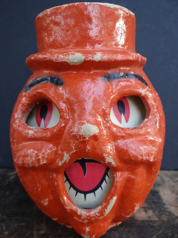 Vintage 1940's Halloween Jack-O-Lantern with Top Hat, made with Pulp Paper Mache