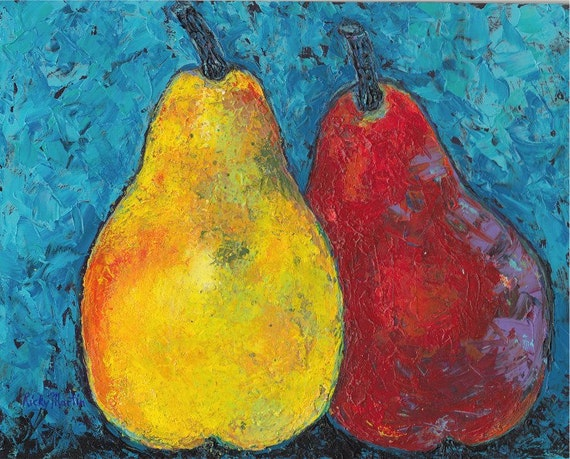Pears, Palette Knife, Kitchen, Dining, Modern Home Decor -  Original Textured Acrylic Painting by  ebsq Artist Ricky Martin FREE SHIPPING