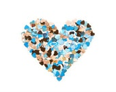 Turquoise and brown little hearts punches - confetti