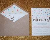 Cheers - Engagement Part Invitation Set - Set of 20