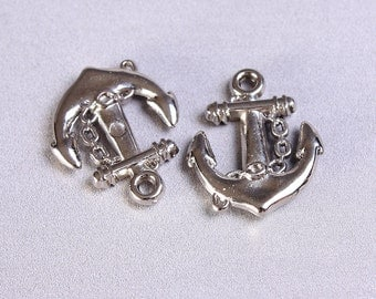 20 anchor charm pendant silver color acrylic 20mm x 16mm 20pcs (701) - Flat rate shipping