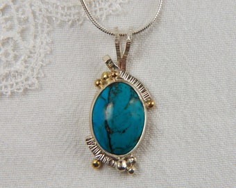 Turquoise Pendant Mixed Metal Necklace Metalwork Necklace Luxury Jewelry Art Jewelry Turquoise Jewelry