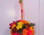 """12"""" Pumpkin Pomander Kissing Ball, Wedding Flower Decor, Wreath Ball"""