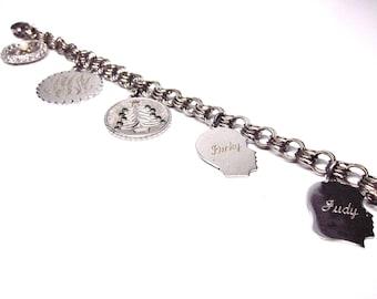 Vintage Charm Bracelet Silver Charms Silhouettes Monogram