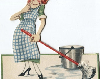 Vintage 1925 Greeting Card I Just Love Housework Wife Mother Maid with Mop Easel Back