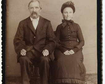 Vintage Cabinet Photo  Older Couple Man and Woman  Fancy Clothes 1800's Instant Ancestors