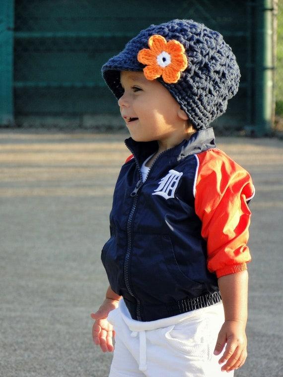 Crochet Baby Hat, Detroit Tigers hat, crochet newsboy hat, team colors, hat for girls, baseball hat