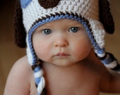 Patchy Puppy Hat Pattern - Crochet Pattern 18 - Beanie and Earflap Pattern - Newborn to Adult Sizes - INSTANT DOWNLOAD