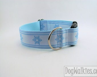 "Winter Wonderland White and Blue - 1.5"" (38mm) Wide - Choice of collar style and size - Martingale Dog Collars or Quick Release Buckle"