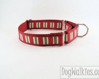"Elf Stocking Stripes Christmas Dog Collar - 1"" (25mm)Wide - Choice of collar style and size - Martingale Dog Collars or Quick Release Buckle"