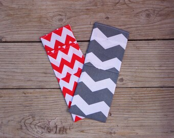 Red or Grey Chevron print, Curling Iron Travel Cover, Flat Iron Cooling Case, Flat Iron Travel Bag