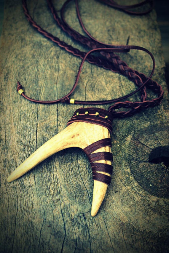 Deer Antler Leather Necklace, Unisex, Boho-Chic, Tribal, Nature Inspired, Native American, Spiritual, LOVE