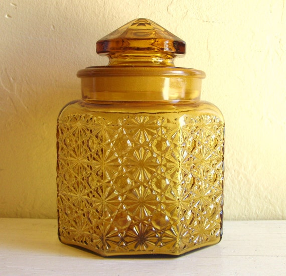 Mid-Century Modern Amber Gold Glass Jar with Frosted Ground Lid Unique