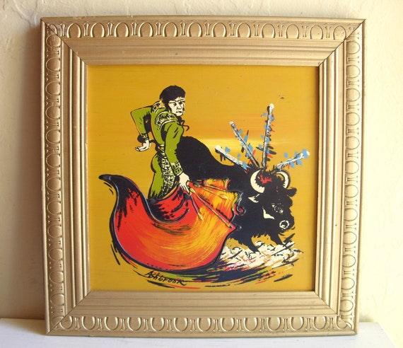Framed Original Painting in Wooden Picture Frame Bullfighting Scene Signed Art