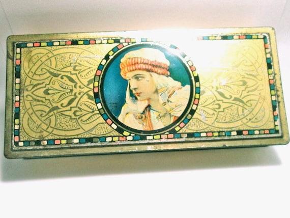 Vintage Tin Rudolph Valentino Canco Beautebox