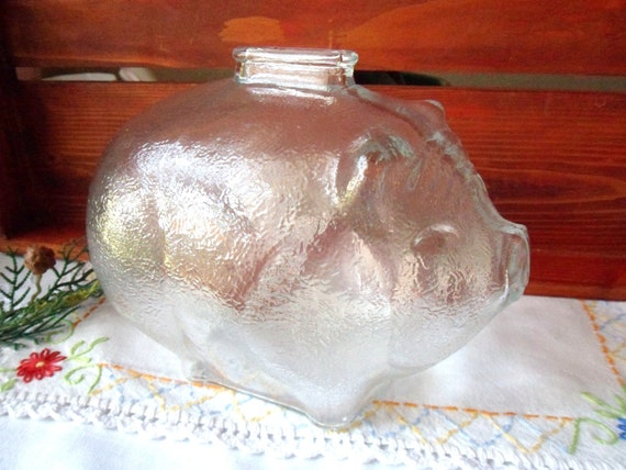 Large Glass Piggy Bank, Clear Glass Coin Bank