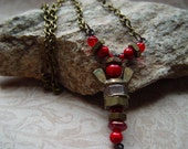 Ruby Red & Antique Brass Beaded Upcycled Wingnut Angel Charm Necklace