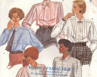 Unusual Jabot Blouse Pattern McCalls 2070 Size 8