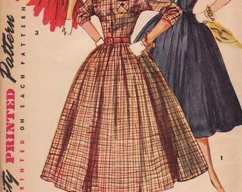 1950s Shirtwaist Day Dress Pattern Simplicity 4828 Size 11 Uncut