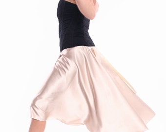 Pearl Satin Skirt for Tango Milonga