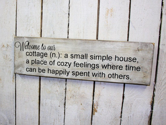 Welcome To Our Cottage Definition Hand Painted By