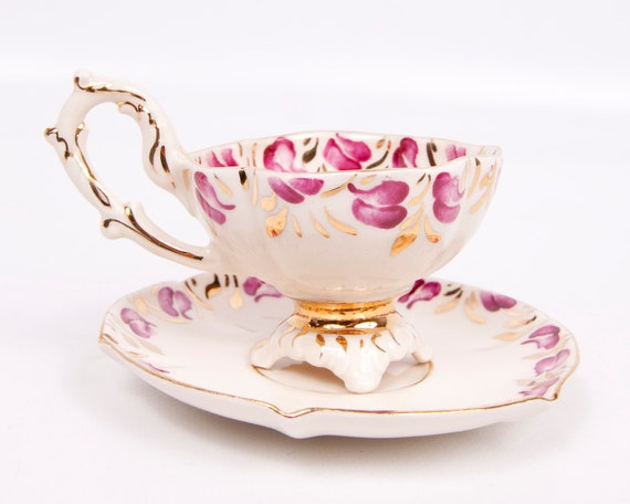 reserved for Amber Vintage Stafford China Teacup And Saucer Gold Trim Floral Design Hand Painted