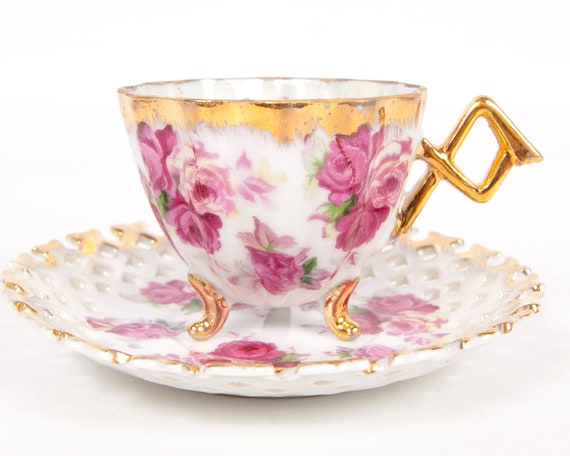 Vintage Napco China 3 Footed Iridescent Teacup Set Hand Painted Roses Reticulated Gold Trim