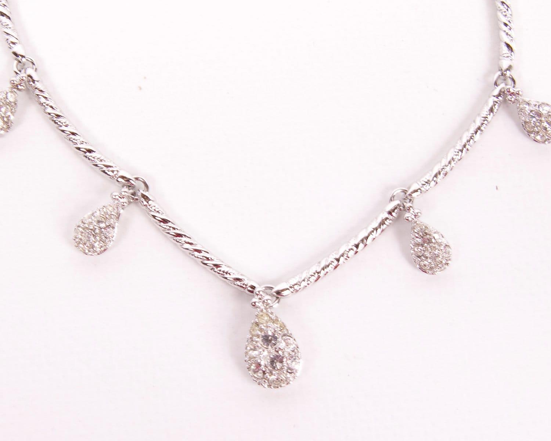 vintage nolan miller tear drop necklace rhinestone swarovski