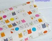 Cotton Linen Fabric,Cartoon Cat,Pattern Style 1/2 yard (C333)