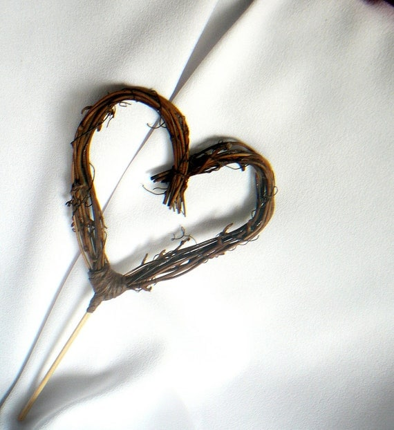 Cottage Chic Cake Topper, Rustic Decor, Vine Twig Heart