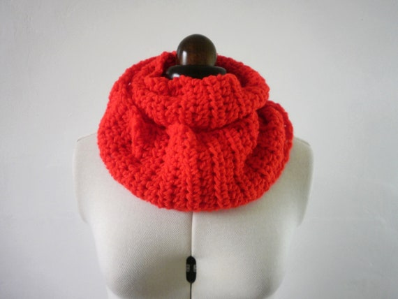 Bright red cowl scarf , red infinity scarf