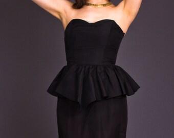 SALE 50% OFF 80s Vintage Sweetheart Peplum Party Dress in Black