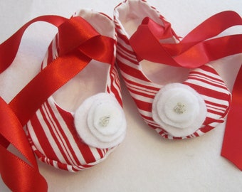 Christmas baby shoes- soft sole, peppermint strip