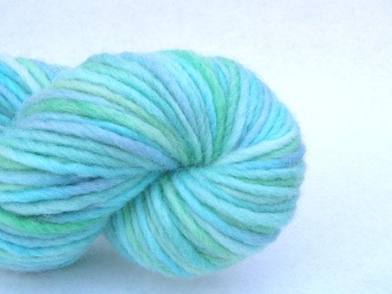 """Hand dyed yarn, chunky blue wool yarn in """"Ocean Twilight"""""""