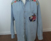 15 Dollar Sale: Vintage Denim Stone Washed Chambray Nautical Appliqués Button Down Long Sleeved Shirt 80s