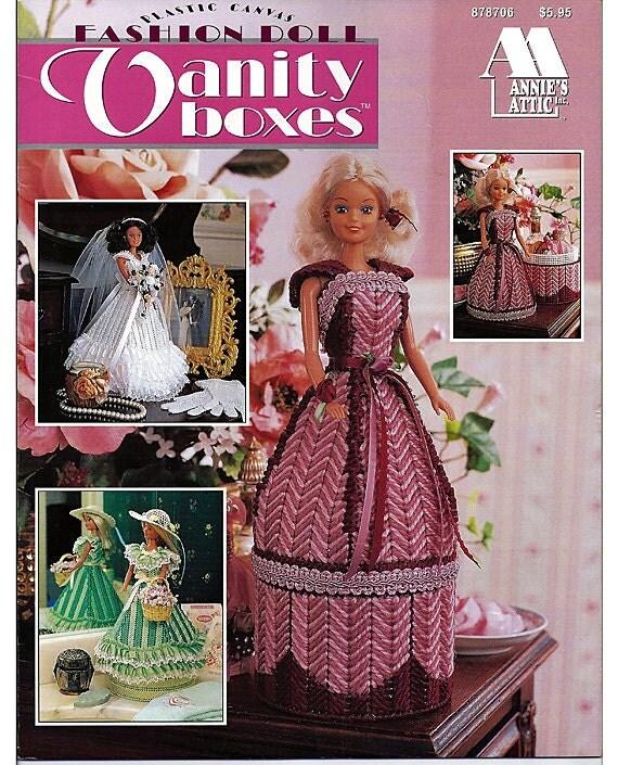 Fashion doll vanity boxes plastic canvas pattern annies attic 878706