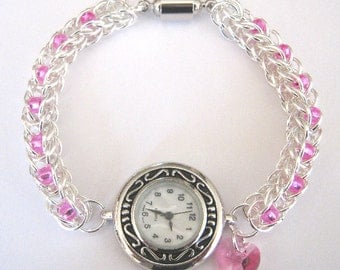 Precious Time Chainmaille and Czech Glass Bead Watch